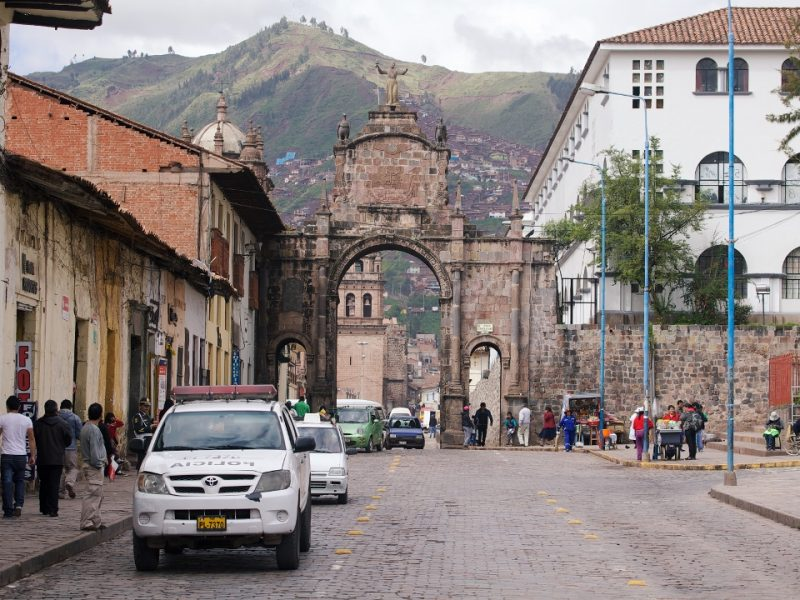 CUZCO, PERU - JULY 14: Famous arc near Plaza de Armas in Cuzco, Peru on july 14th, 2013.